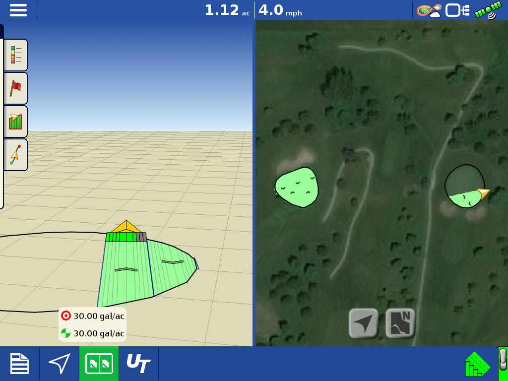 Ag Leader turf GPS sprayer screenshot